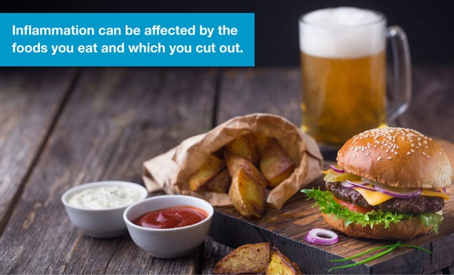 Inflammation can be affected by the foods you eat and which you cut out