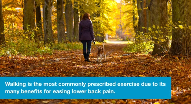 Walking is the most commonly prescribed exercise for easing lower back pain