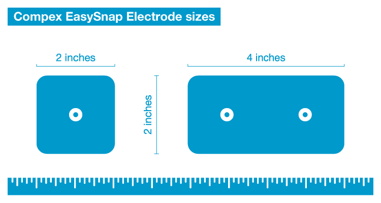 Compex EasySnap electrode sizes
