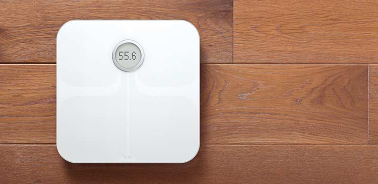 Fitbit Aria Wifi Smart Scale In White On Bathroom Floor