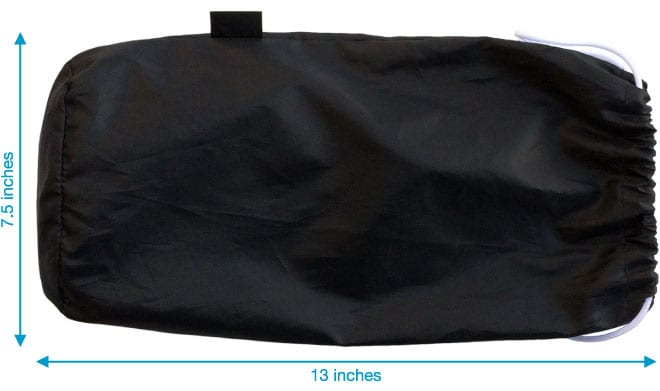 Carrying pouch dimensions - this won't take up much space or weigh luggage down