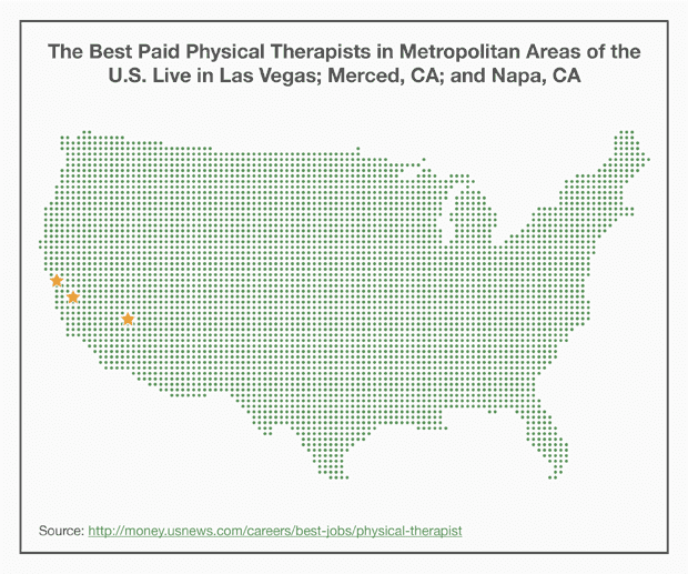 Map – Where the Best Paid Physical Therapists in Metropolitan Areas of the U.S. Live