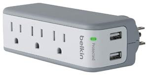 Belkin 3-Outlet SurgePlus Mini Travel Swivel Charger Surge Protector with Dual USB Ports