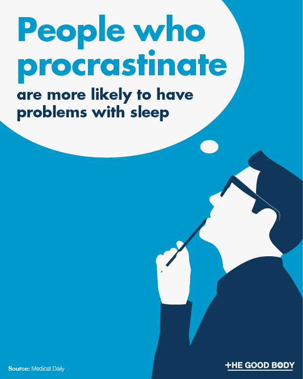 Procrastinators are more likely to experience problems with sleep