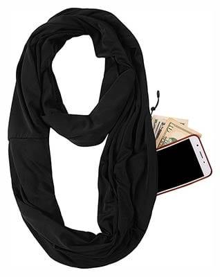 Jokhoo Infinity Scarf Wrap with Secret Hidden Zipper Pocket