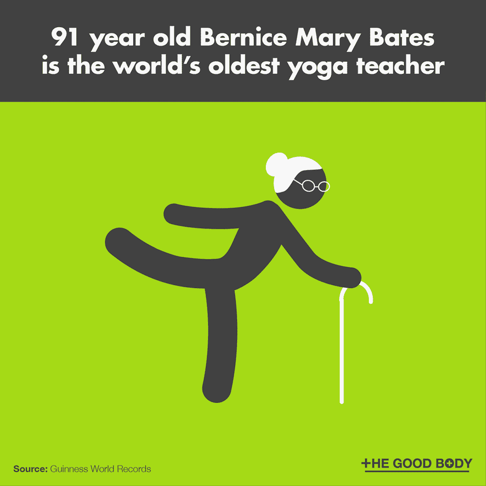 91 year old Bernice Mary Bates is the world's oldest yoga teacher