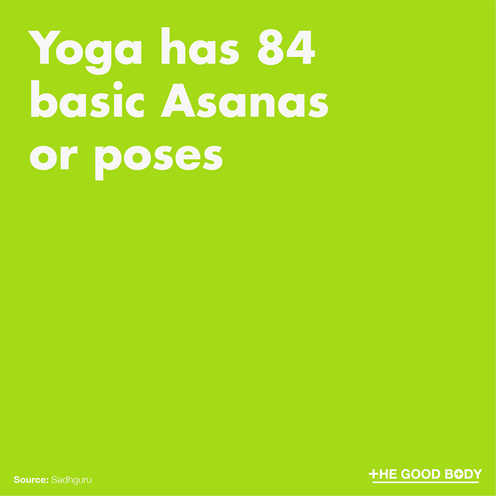 Yoga has 84 basic Asanas or poses