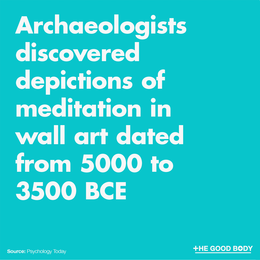 Archaeologists discovered depictions of meditation in wall art dated from 5,000 to 3,500 BCE