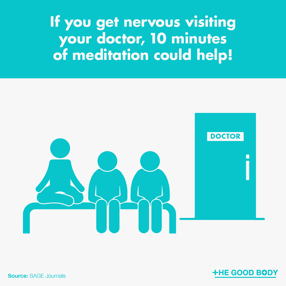 If you get nervous visiting your doctor, 10 minutes of meditation could help!