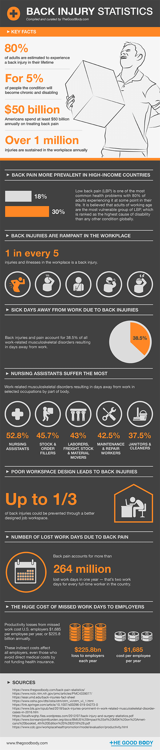 Back Injury Statistics - infographic