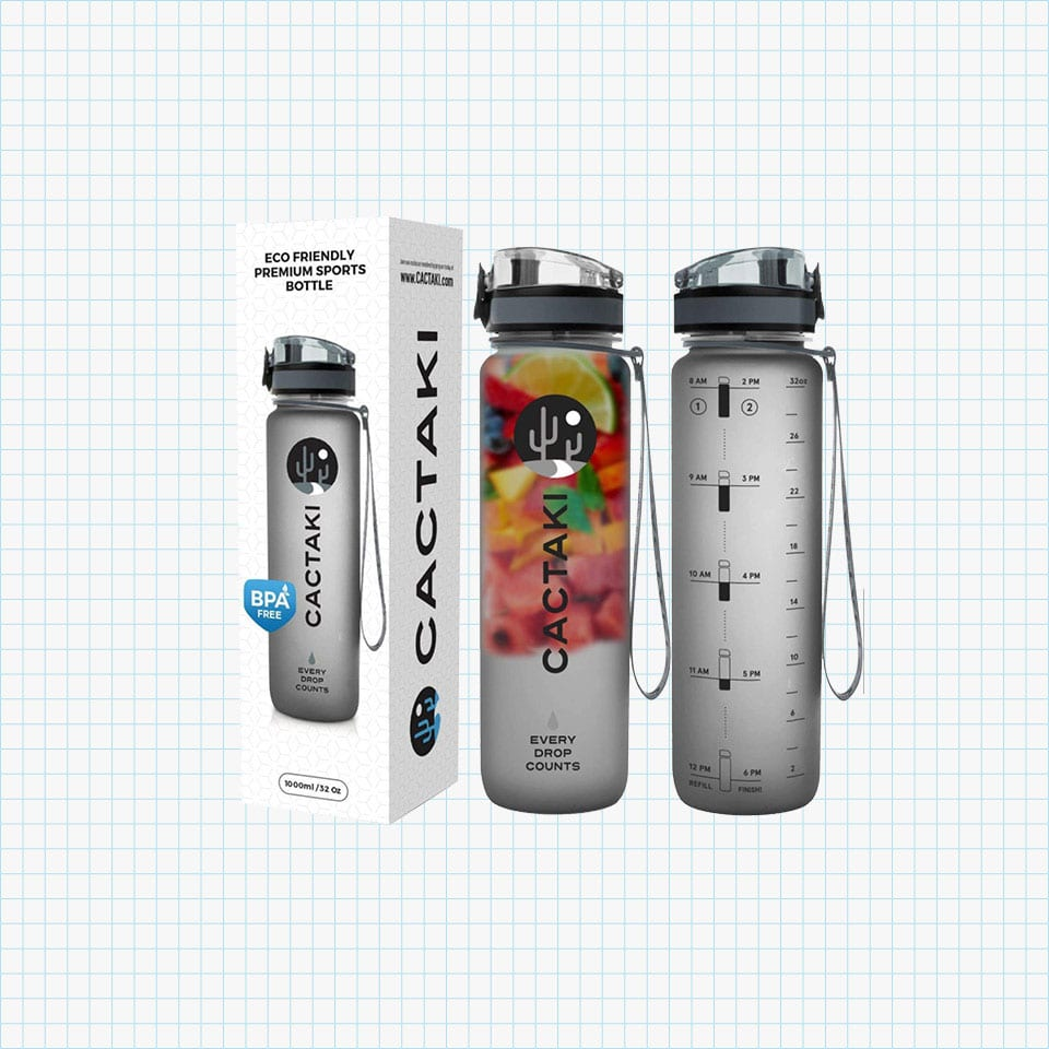 Cactaki Water Bottle with Time Marker, Large BPA Free Water Bottle