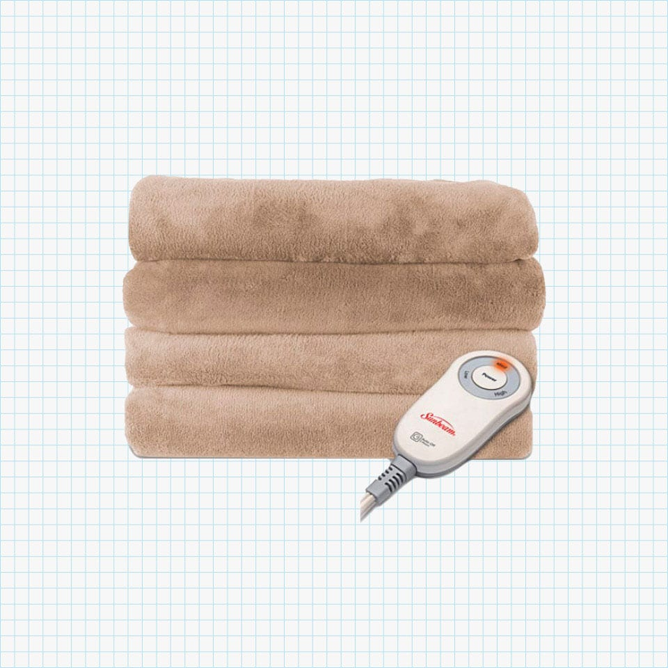 Sunbeam Microplush Camelot Heated Electric Warming Blanket