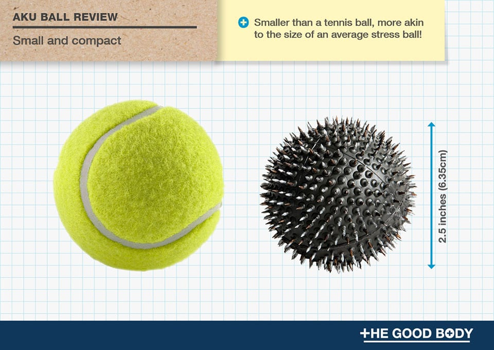 Aku Ball is smaller than a tennis ball – more akin to the size of a stress ball