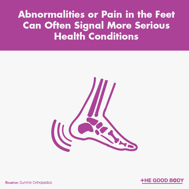 Abnormalities or pain in the feet can often signal more serious health conditions