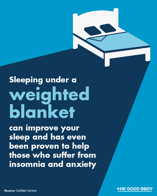 Sleeping under a weighted blanket can improve your sleep and help anxiety