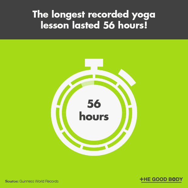 The longest recorded yoga lesson lasted 56 hours!