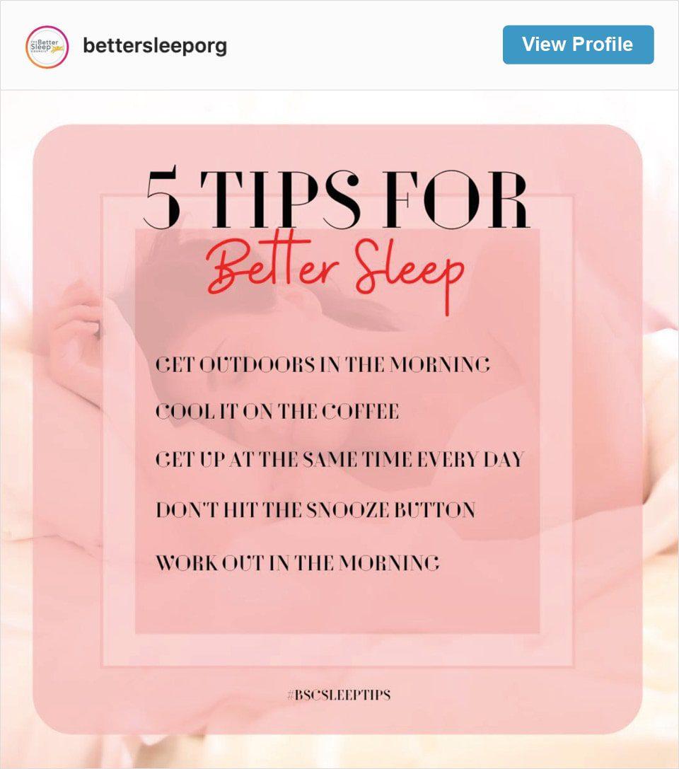 Follow Better Sleep Council's Instagram account