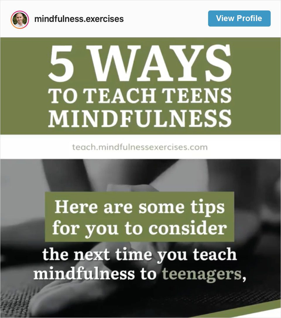 Follow Mindfulness Exercises' Instagram account
