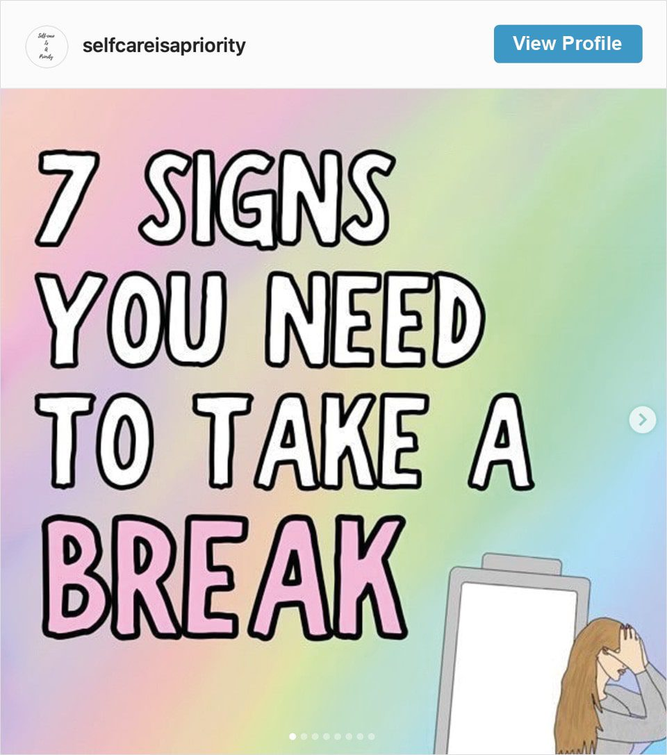 Follow Self Care is a Priority's Instagram account