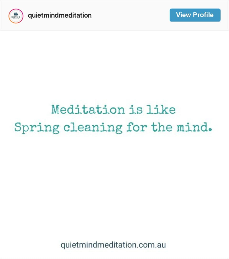 Follow Quiet Mind Meditation's Instagram account