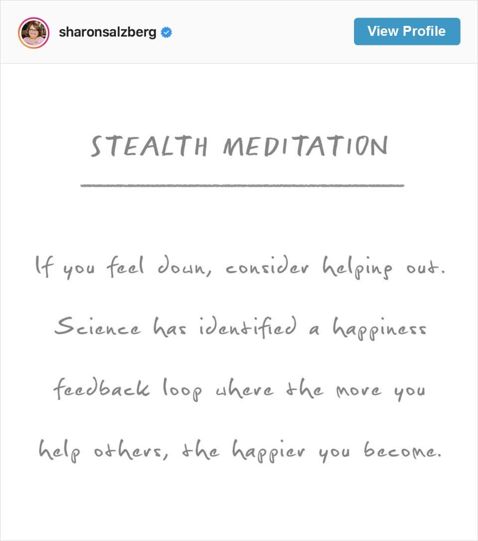 Follow Sharon Salzberg's Instagram account
