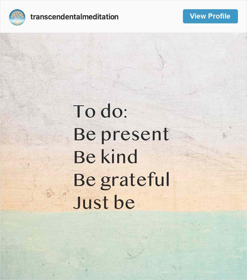 Follow Transcendental Meditation's Instagram account